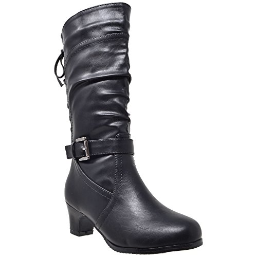 Generation Y Kids Girls Knee High Boots Corset Lace Up Back Buckle Strap Low Heel Shoes Black SZ 4 Youth