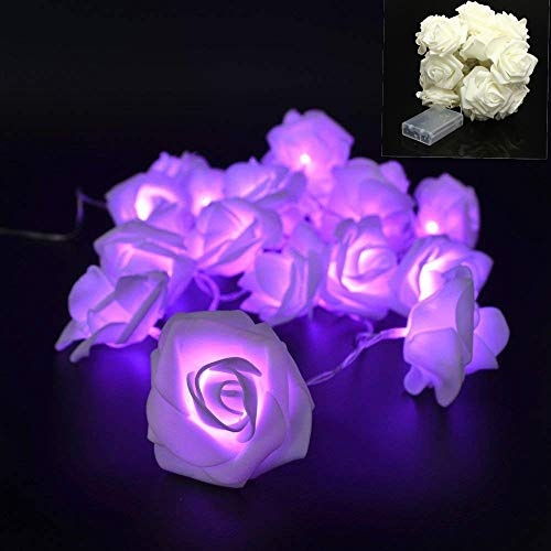 (VIPMOON 2M/6.56ft 20LED String Lights Bright Warm Rose Flower Lamp Fairy Light,Battery Operated String Romantic Flower Rose Lamp Outdoor for Wedding Room Christmass Valentine's Day Decoration -Purple)