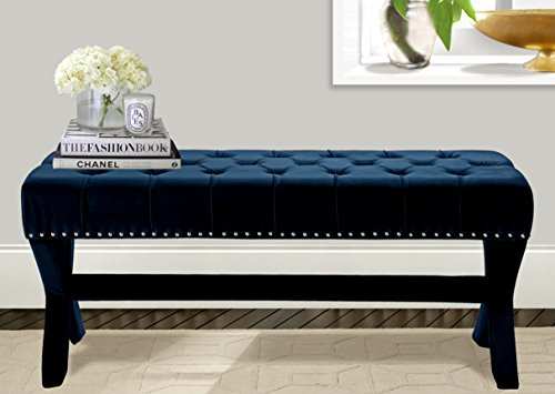 Iconic Home Neil Velvet Modern Contemporary Button Tufted with Silver Nailheads Seating, Frame and Legs X-Leg Tufted Bench, Navy
