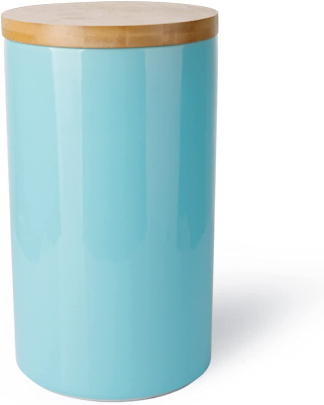 Sweese 817.102 Kitchen Canisters, 65oz/1930ml Porcelain Food Storage Jar with Wooden Lid for Serving Coffee Bean, Flour, Tea, Spice, Container Airtight, Turquoise