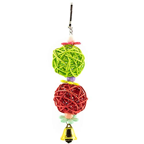 YINGGE Bird Rattan Balls Toy with Bell Beads, Parrot Pet Chewing Biting Cage Toys for Small and Medium Parrots, Parakeets, Cockatiels, Lovebirds, Sun Conures, Caique, Finches