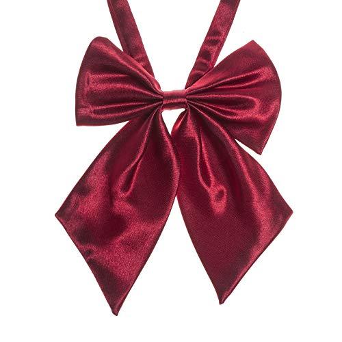 Ladies Adjustable Pre tied Bowtie - Solid Color Bow Ties for Women (Dark red -