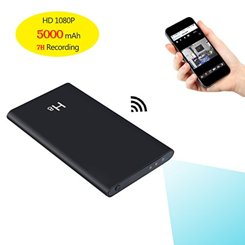 KAMRE HD 1080P 5000mAh Portable Power Bank Camera Nanny Cam, 7 Hours Continuous Video Recording, Support iOS/Android PC Remote Real-time View, Black