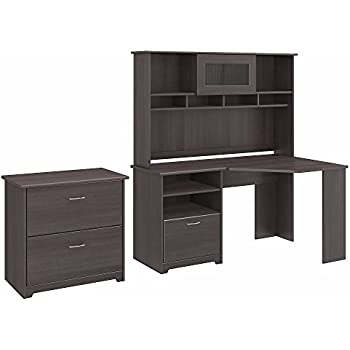 Bush Furniture Cabot Corner Desk With Hutch And Lateral File Cabinet In  Heather Gray