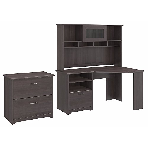 Bush Furniture Cabot Corner Desk with Hutch and Lateral File Cabinet in Heather Gray (Computer Cabot Corner Desk)