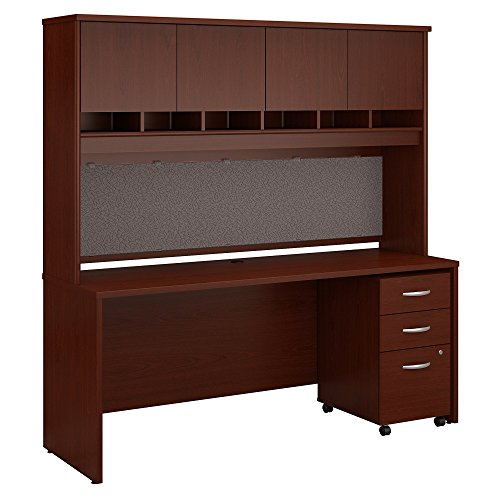 Bush Business Furniture Series C 72W x 24D Office Desk with Hutch and Mobile File Cabinet in Mahogany - Contemporary Mahogany Hutch