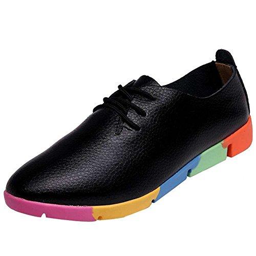 QUICKLYLY Mujer Zapatos Sandalias Cuero de PU Moda Pisos Zapatos Puntiagudo Dedo del pie con Cordones Ocio 35-43 Negro