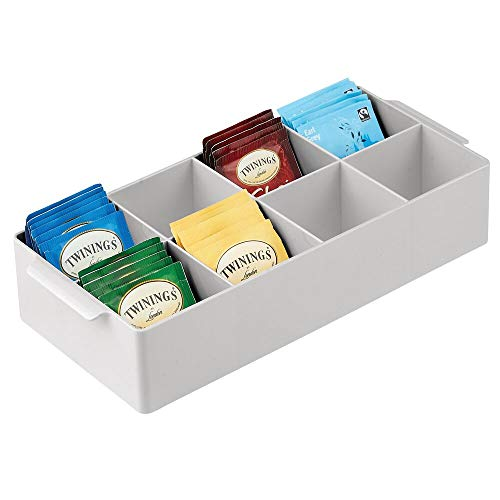 mDesign Compact Plastic Tea Storage Organizer Caddy Tote Bin - 8 Divided Sections, Built-in Handles - Holder for Tea Bags, Small Packets, Sweeteners - Light Gray