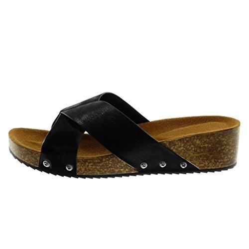 on Angkorly Chaussure Clouté Bi Mule Compensé Cm matière Slip 4 Liège Talon Femme Mode Brillant Sandale Noir 5 wgqnqdfXB