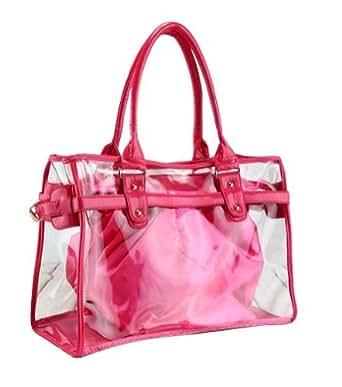 VOCHIC Rose Red Clear Transparent Tote Shoulder Bag Satchel, Beach Handbag for Women