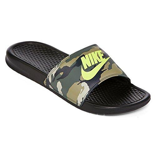 Men's Nike Benassi JDI Print Sandal Black/Volt Size 8 M US