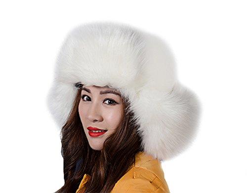 Genda 2Archer Russian Cossack Style Women's Winter Warm Faux Fox Fur Hat with Ear Flap (White)