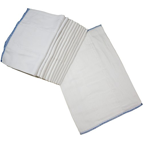 OsoCozy - Indian Cotton Prefolds (Dozen) - Soft and Absorbent Baby Diapers Made of 100% Indian Cotton - Infant Diaper, 12