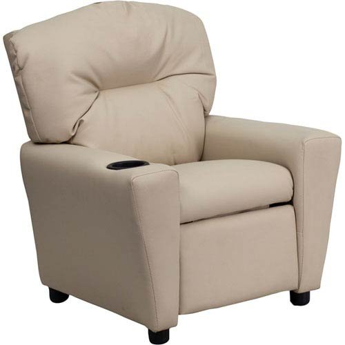 Parkside Contemporary Beige Vinyl Kids Recliner with Cup Holder