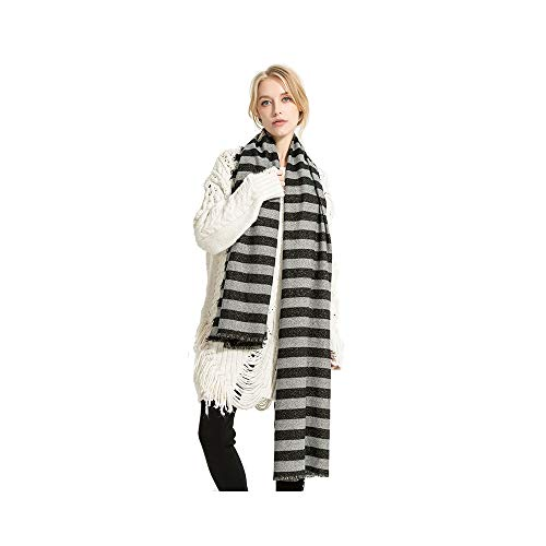 Women Girls Lurex Striped Reversible Extra Long extra thick Scarf Wrap Shawls ()