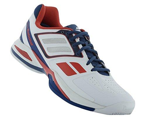 BABOLAT Propulse Team BPM All Court Men's Tennis Shoe, White/Blue/Red, US7.5