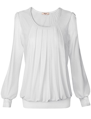 Timeson Womens White Tops and Blouses, Women's Long Sleeve Scoop Neck Satin Pleated Blouse Banded Hem Tops for Women Fitted Tunics Blouse Formal Shirts Summer White - Shirt Blouse White
