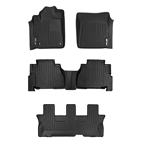MAXLINER Floor Mats 3 Row Liner Set Black for 2012-2018 Toyota Sequoia with 2nd Row Bench Seat