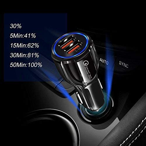 Android Devices 6 Samsung 11 Skmisk Car USB Dual-Port Charger Charging Black for Cell Phone iPhone SE 5 7