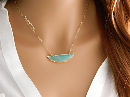 Mothers Day Gift, Natural Amazonite Necklace, Gold Half Moon bar Necklace, cubic Zirconia, trendy Necklace, large pendant, horizontal necklace, Healing Necklace, for sister