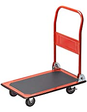 Meister 8985400 Platformwagen, inklapbaar, draagkracht tot 150 kg, parkeerrem, transporthulp met zwenkwielen, pakketten met anti-slip coating, stalen klapwagen