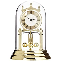 Seiko 9 Anniversary Mantel Clock with Glass Dome & Roatating Pendulum