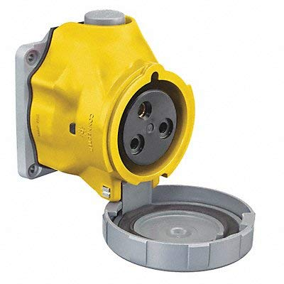 Pin and Sleeve Receptacle 32A 2HP Yellow