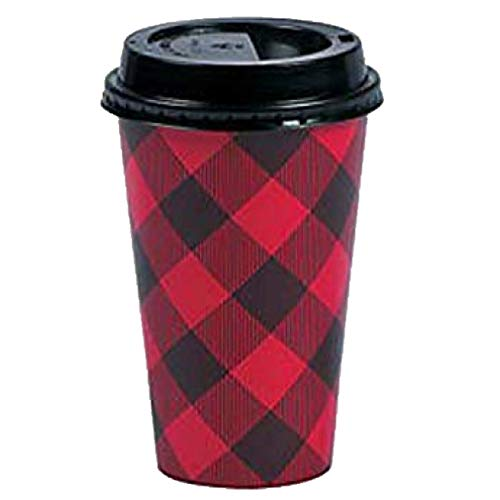 Disposable Coffee or Hot Chocolate Cups With Lids, 16 oz - Buffalo Plaid (Red, Black) - 24 Count