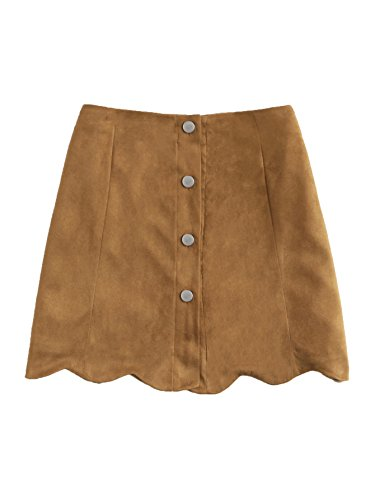 MAKEMECHIC Women's Casual Faux Suede Button Front A Line Mini Skirt Scallop-Brown M