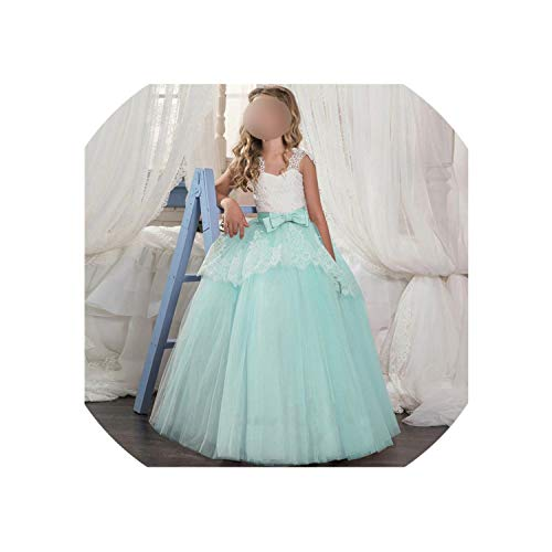 Princess Dress for Girls Wedding Purple Tulle Lace Long Girl Dress Party Pageant Bridesmaids Formal,Green,9 (Cultural Dress Up Clothes)
