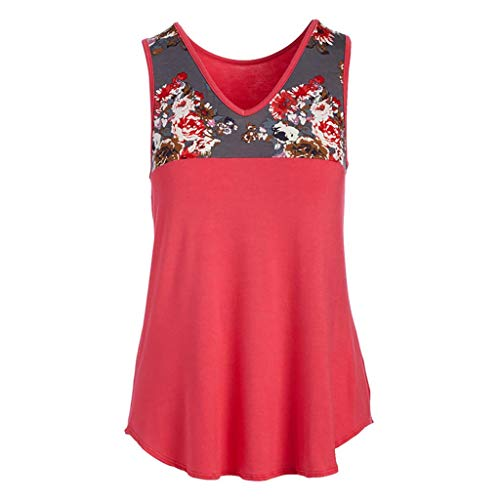 - Aunimeifly Summer Women Floral Printed Shirt V Neck Sleeveless Blouse Pleats T-Shirts Ladies Tunic Tank Tops Red