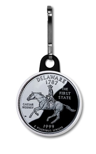 - DELAWARE State Quarter Mint Image 1 inch Zipper Pull Charm
