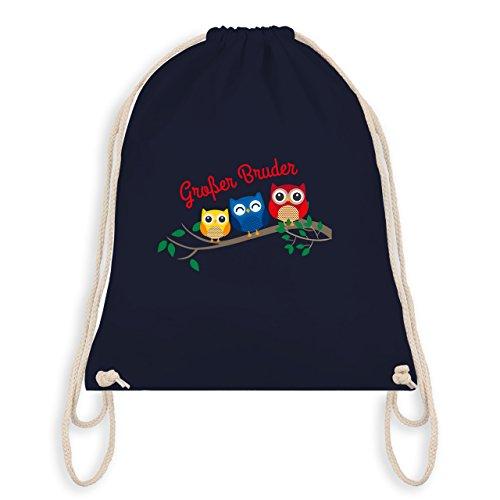 Shirtracer Geschwisterliebe Kind - großer Bruder süße Eulen - Turnbeutel I Gym Bag Navy Blau
