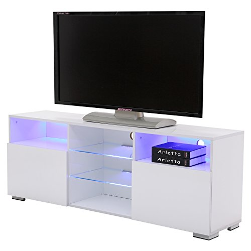SUNCOO TV Stand Media Console Cabinet LED Shelves with 2 Drawers for Living Room Storage High Gloss White for up to 72-inch TV Screens
