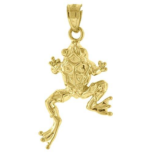 FB Jewels 10k Yellow Gold Womens Frog (Ht:29mm x W:14mm) Animal Charm Pendantt ()