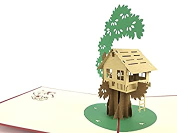 Amazing Treehouse - Tarjeta de felicitación de cumpleaños roja con el nombre de tus sueños,
