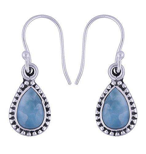 Pear Shape Natural Larimar Earrings, Silver Drop Earrings, Gift for her, 925 sterling silver larimar jewelry, women jewelry, Statement Earrings, Larimar Stone Earrings