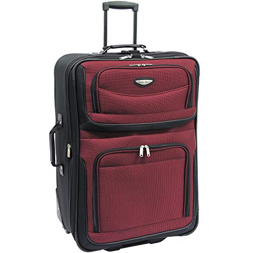 Travel Select Amsterdam Expandable Rolling Upright Luggage, Burgundy, Checked-Large 25-Inch