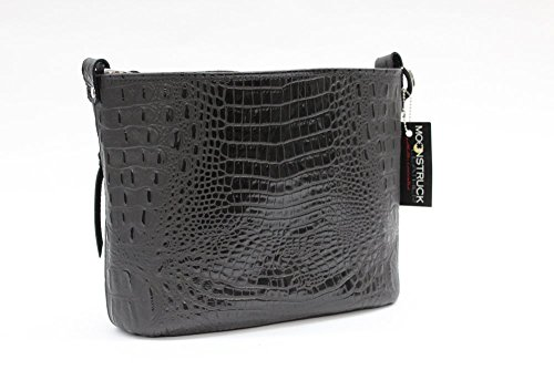 Patent Croc Black (MoonStruck Leather Concealed Carry Purse - CCW Handbags - Black Embossed Croc Classic - Made in the USA - Classic)
