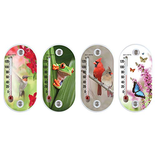 Pack of 2 Small Indoor/Outdoor Thermometer (Assorted Colors & Images Vary)