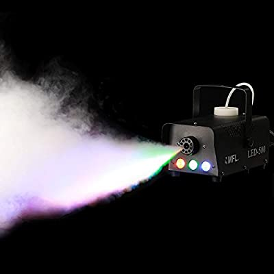 MFL Fog Machine, Portable Smoke Machine with LED Lights and Wireless Remote Control for Stage, Disco, Halloween and Weddings (500W, 2000 CFM) by MFL.