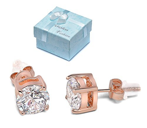 Buyless Fashion Surgical Steel 14K Rose Gold Plated Earrings with White Round Crystal CZ in Gift Box - 6MM Rose Gold/White Stud
