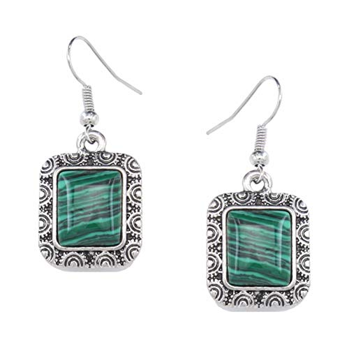 QERSHI Earrings Stud Earring Pendant Explosive Bohemian Tibetan Style Retro Green Malachite Square Earrings Earrings