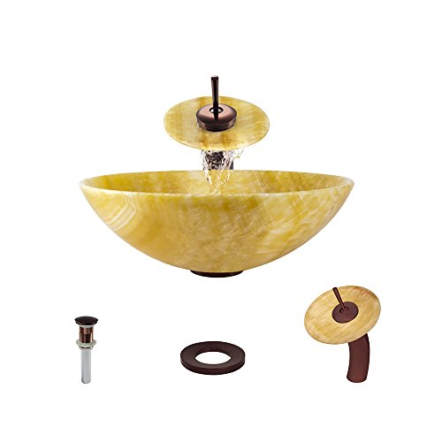 853 Honey Onyx Vessel Sink Oil Rubbed Bronze Bathroom Ensemble with Waterfall Faucet (Bundle - 4 Items: Sink, Faucet, Pop Up Drain, and Sink Ring) Onyx Stone Bathroom Vessel Sink