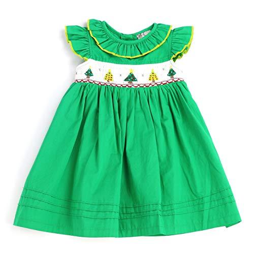 sissymini - Christmas Hand Smocked Angel Sleigh Dress (Green Xmas Tree, 3T)