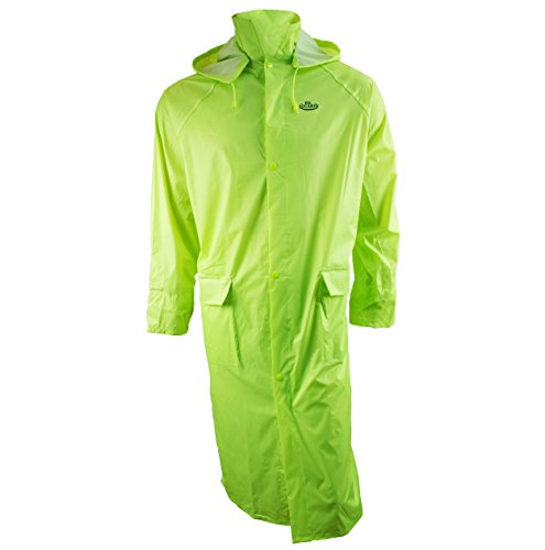 RK Safety RC-PP-HIG44 Hi-vis Green PVC Polyester Trench Rain Long Coat With Hoodie(Hi-vis Green, 2XL) by RK Safety
