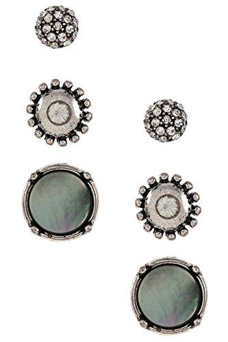 Framed Canvas Iii (Karmas Canvas 3 Piece Stud Framed Rhinestone Accent Earring Set (Burnished Silver/Clear))