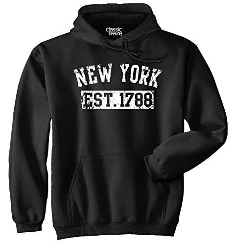Black New York Hooded Sweatshirt - New York State Printed Adult Hooded Sweatshirt