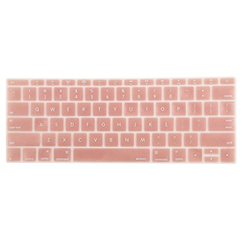 MOSISO Silicone Keyboard Cover Compatible MacBook Pro 13 Inch 2017 & 2016 Release A1708 Without Touch Bar, MacBook 12 Inch A1534 Protective Skin, Rose Gold