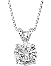 14K White Gold Moissanite by Charles & Colvard Round Solitaire Pendant, 1.90ct DEW